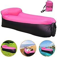 iRegro sofa hinchable, portátil impermeable Durable ligero poliéster Aire Sofá libre aire con almohada para Camping, playa, parque, patio (Negro rosa)