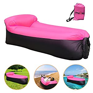 iRegro tragbar aufblasbare Sofa mit integriert Kissen, Wasserdicht aufblasbarer sitzsack air sofa aufblasbar, Outdoor aufblasbare Couch luftsofa für Camping, Park, Strand, Backyard (rosaschwarz)