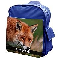 Personalised Fox Animal BLUE Rucksack Backpack 122