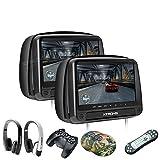 XTRONS® 2016 Neu 2x 9' Auto Kopfstütze HD TFT Monitor DVD CD Player HDMI USB SD Port FM/IR Touch-Button mit zwei Kopfhörer