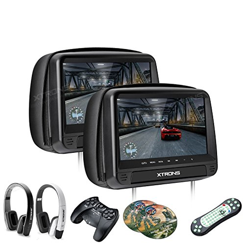 """XTRONS 2 Stück 9\"""" DVD Player für Auto Bildschirm für Autositz Kopfstütze mit Leder Adeckung Windows CE System Headrest HDMI Anschluss unterstützt 32 Bits Spiele IR Transmitter FM Transmitter"""