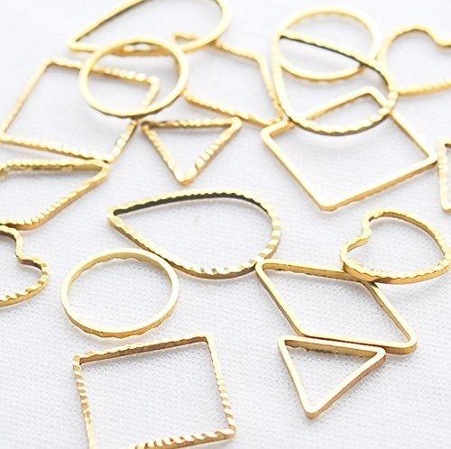 parti del telaio [6. Tipo 6.0 pezzi ogni dieci Gold] triangolo rombo quadrati goccia rotonda a forma di cuore telaio vuoto accessori telaio in resina Impostazioni parti handmade per gli orecchini in resina, come ad esempio nel commercio in polvere