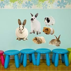 Grand lapin & Cochon de Sticker mural, grand Thème des animaux Sticker mural photo réaliste, Art Mural Peel et Stick