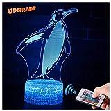 3D Pinguin Lampe LED Nachtlicht mit Fernbedienung, USlinsky 7 Farben Wählbar Dimmbare Touch Schalter Nachtlampe Geburtstag Geschenk, Frohe Weihnachten Geschenke Für Mädchen Männer Frauen Kinder