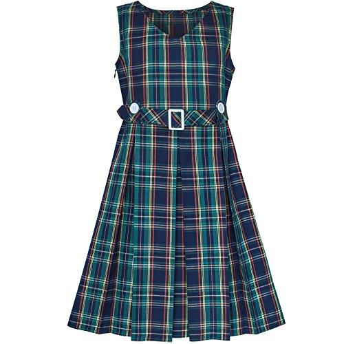 Mädchen Kleid Grün Schottenkaro Taste Zurück Schule Gefaltet Saum Gr. 146