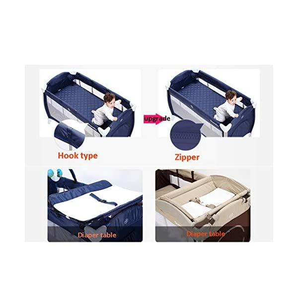 Travel Crib Cots Baby Nest Pod Bassinet Multifunctional Crib Travel Cots for Baby Sleeptight Game Bed Portable Folding with Mattress Mosquito Net 3 Colors (Color : A) OZYN Travel cots 【2-IN-1 BABY TRAVEL COT】There are two layers on this baby travel bed, the top layer is suitable for feeding and resting, and the bottom layer is ideal for crawling or learning to walk. You can use our infant cot in various kinds of places according to your different needs. 【MATERIAL】High quality oxford material, soft and comfortable, free of paint formaldehyde, wear-resistant, dirt-resistant, durable, preferably coir mattress, care for your baby's body and healthy growth 【SAFE CONSTRUCTION FOR BABY】Breathable mesh bed, protect your baby from bruising and bruising, good for air circulation, round corner bed, white plastic material, durable and rust-free, protect your baby from harm 9