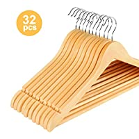 ilauke Pack of 32 Maple Wooden Coat Hangers Clothes Hangers With Trouser Bar and Shoulder Notches 360 Degree Rotating Wood Hanger for Suits, Trousers, Shirts and Blouses