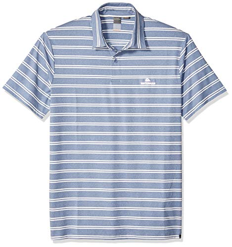 Blue Knit Polo Shirt (Quiksilver Herren Striped Reel Backlash Polo Knit Shirt Poloshirt, Blue Shadow Marl, Mittel)