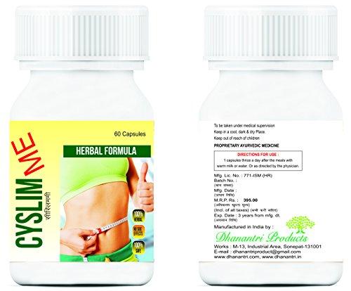 Alexvyan Slim Cyslim Me Ayurvedic Herbal Veggie Extract To Reduce Fat - 500mg (60 Capsules)