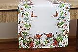 Kamaca Serie Butterflies Garden Hochwertiges Druck-Motiv mit Schmetterlingen und Blumen - EIN echter Eyecatcher (Tischläufer 40x140 cm)