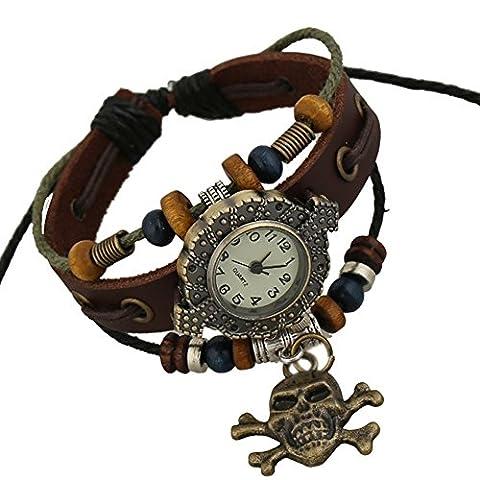Fashion Retro Punk Handmade Bracelet Skull Pendant Leather Strap Quartz Men Women Wrist Watch, Brown