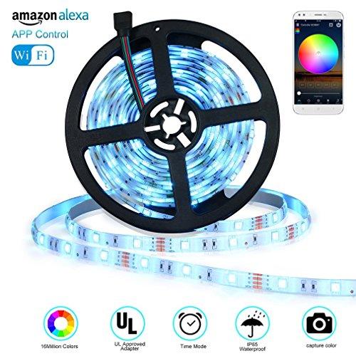 Tiras LED de 5 metros compatible con Control de Voz de Alexa APP marca Valorlion