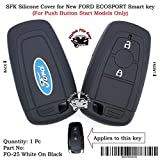 #8: SFK Silicone Smart Key Cover for New Ford Ecosport (for Push Button Start Only) (FO-25-White-On-Black)