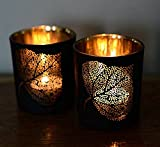 #3: Collectible India Set Of 2 Metal Black Tea Light Candle Holder Leaf Design Hurricane | Beautiful Flickering Reflections in the Dark | Candles for Home Lights Decoration