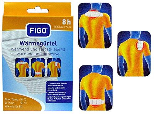 FIGO Wärmegürtel Set 4 Stück Wärmepflaster Wellnesspflaster 8 Std wärmend und selbstklebend 28,5 cm x 9cm