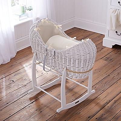 Británico de lujo blanco pod noah pod izzy moses cesta con cremas cubiertas vestidores gofres. Soporte oscilante Deluxe incluido