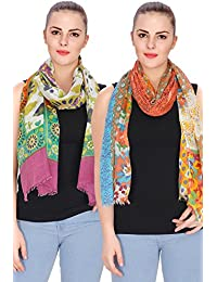 Anekaant Printed Viscose Stole Pack Of 2(70x180 cm)