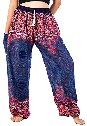 Lofbaz Pantaloni Coulisse da Donna Pavone Funky Floral Harem Pants Taglia Unica Rose 1 Blu Scuro