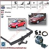 AHK Anhängerkupplung mit Elektrosatz 7 polig für Ford Galaxy / Seat Alhambra / VW Sharan 1995-2000 Anhängevorrichtung Hängevorrichtung - starr, mit angeschraubtem Kugelkopf