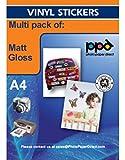 PPD DIN A4 Inkjet Vinyl Aufkleberfolie (Stickerfolie) weiß glänzend/weiß matt selbstklebend, Multipack mit jeweils 20 Blatt DIN A4 x 20 Blatt PPD036/38-20