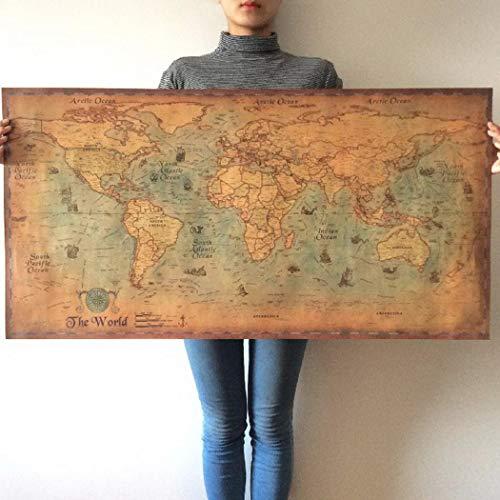 Kuerli Nautical Ocean Sea World Karte Retro Kunstdruckpapier Malerei Home Decor Poster Aufkleber Gemälde
