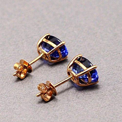Ange en jade véritable Coupe ovale Tanzanite Or 18Carats Boucles d'oreilles clous pour femmes mariage bijoux