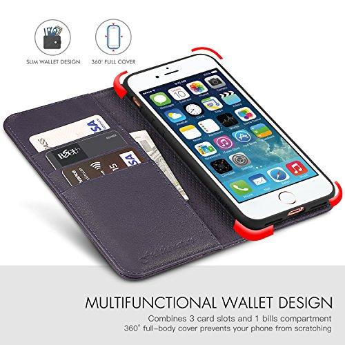 iPhone 8 Plus Hülle, iPhone 7 Plus Hülle, SHIELDON [Lebenslange Garantie] Echt Leder Schutzhülle,leicht,schlank und weich,Tasche Case mit [Aktualisierte TPU Innenschale] Kartenfach,Magnetverschluss un lila