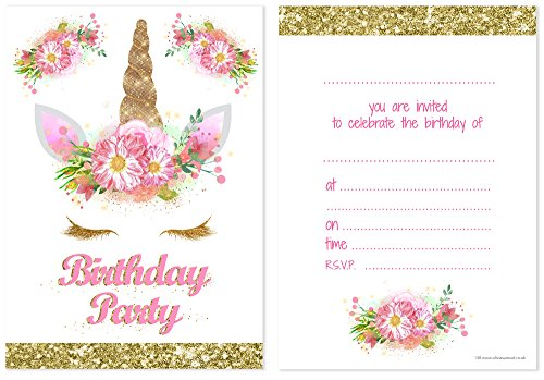 Unicorn-Girls-Party-Invitations-Pink-and-Gold-Glitter-effect-print-with-Envelopes-Ready-to-Write-Pack-10
