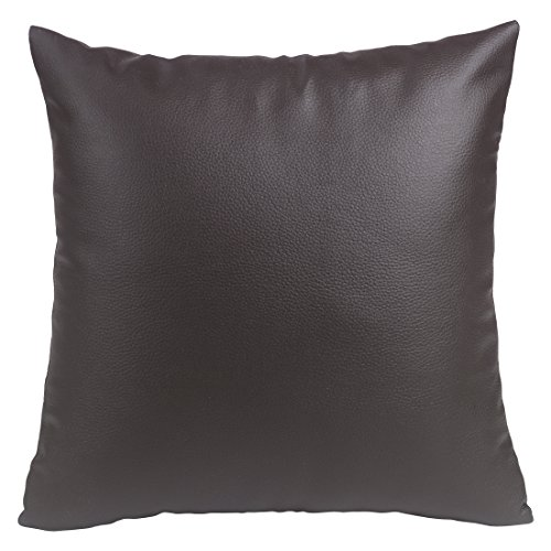 Texmania Dollaro Kunstleder Kissenbezüge in 4 Farben & 10 Größen mit Reißverschluss Leder Kissenbezug Braun 50 x 60 cm