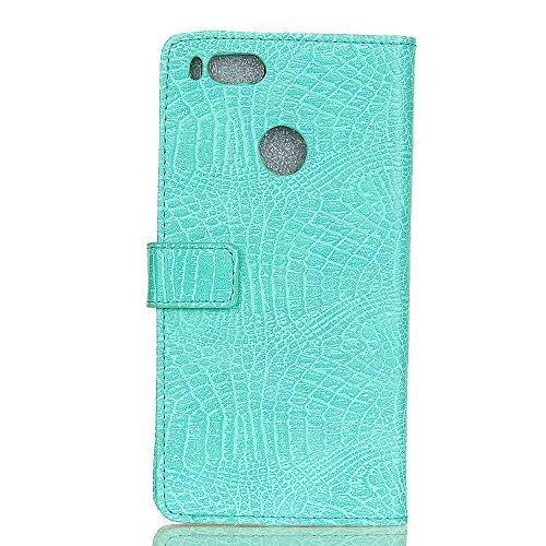 Stylish Crocodile Pattern Solid Color PU Leder Schutzhülle Case Flip Stand Case mit Wallet Funktion für Xiaomi 5x ( Color : White ) Green