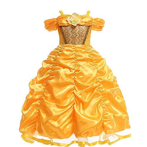 Gtkc ragazza bambini bellezza e la bestia principessa dress costume di halloween a strati partito capi di ispirazione 130cm