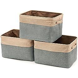 EZOWare Boîte de Rangement Pliable en Lin avec Les poignées, Panier de Rangement, Rangement de Qualité - Pack de 3 - Marron/Gris