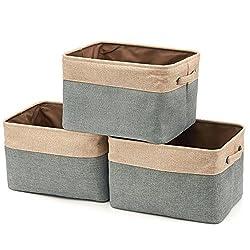 EZOWare Faltbare Aufbewahrungsbox aus Leinen Aufbewahrungskorb mit Griffen - 3er Set (Grau/Beige)