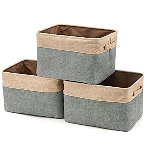 Foldable Storage Bin Basket (Pack of 3), EZOWare Rectangular Folding Canvas Fabric Tweed Storage Box Container Organiser Cube Set w/ Handles for clothes, laundry, kids toy, books, magazines, files, bathroom towels-