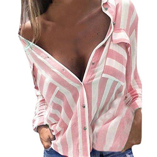 LSAltd Frauen V Ausschnitt Plaid Gedruckte Bluse, LSAltd Damen Langarm Casual Tops T-Shirt (Rosa, XL) (Damen T-shirt Rosa Hand)