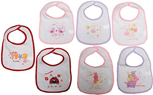 469d2ccf65014 Baby Feeding Bibs 7 Pack Days of The Week Towel Front Peva Back 6 Designs 0