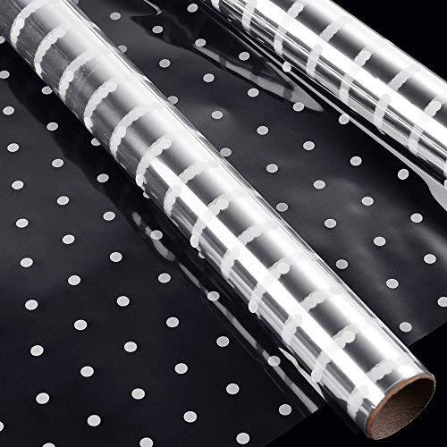 faburo 2Rollo 3M * 40cm punto blanco envoltura de celofán de florista papel transparente