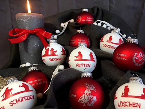 Roter Hahn 112 Hochwertige Feuerwehr Christbaumkugeln aus Glas Weihnachtskugeln Weihnachtsbaumanhänger ROT-Weiss 10er