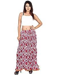 Gaurangi Women's Cotton Designer Long Floral Printed Skirt