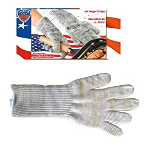 Fachhandel-Plus Paire de gants anti-chaleur hauts pour barbecue ou four à pain Jusqu'à 250°C