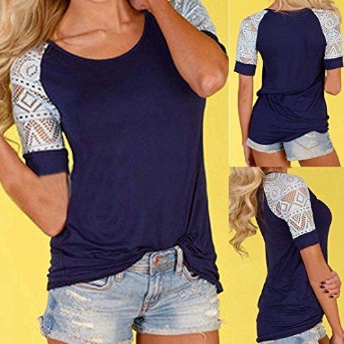 Blouse femme,Tonwalk Blouson d'été féminin Blousons décontractés T-shirt en dentelle Vert foncé