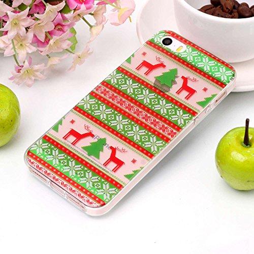 Cover iPhone 5 5s SE, Sportfun morbido protettiva TPU Custodia Case in silicone per iPhone 5 5s SE Natale (03) 05