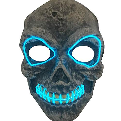 atuen 2018 Neueste Halloween Maske Led, Halloween Skeleton Maske Full Face Led Masken Tanzen Rave Glow Scary Maske Leuchten Cosplay Maske, Festival Party Cosplay Led Leuchten Mask ()