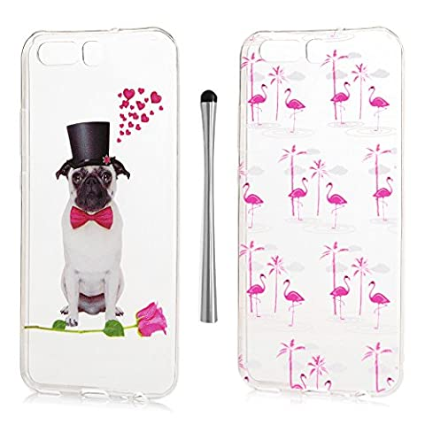 KASOS Huawei P10 Case Longing For Love White Lonely Dog in Black Hat Red Tie Express Love Hearts Vivid Flamingo 2 Pieces Case One Pattern One Mood [Ultra Slim Thin] Lightweight Colourful Transparent Pattern Cover Soft Flexible[TPU Bumper] Silicon Gel Perfectly Fit Shell Drop Scratch Shock Protection Skin With 1
