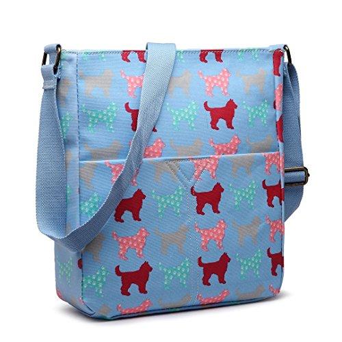 Miss Lulu Damen-Umhängetasche aus Wachstuch, Schultertasche in verschiedenen Designs und Farben, lässiger Stil Dog/Blue