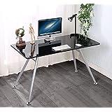 Black ANGELO High Gloss Computer Home Executive Study Office Workstation Desk