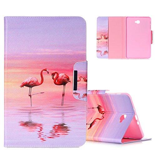 Cover Samsung Galaxy Tab A6 10.1 2016 Animali, Aeeque Flip Pochette Samsung Galaxy Tab A 10.1 pollici (SM-T580/T585) Custodia in Pelle PU Protettiva Libro Bumper con Design di Amore Rosa Fenicotteri