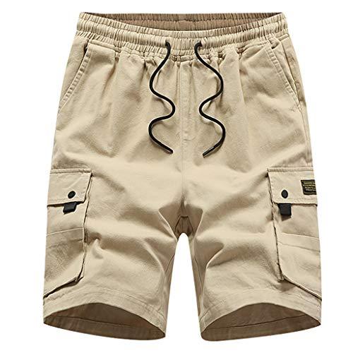 Pantaloni Corti Bermuda Cargo Pantaloncini Uomo Cotone Lavoro Pantaloni Elastico Uomini Estive Casual Pantaloncino Sportivi Estate Mid-Rise Pantaloncini da Uomo Sciolto Casual con Tasca Pantaloni