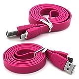 Gadget Giant Huawei Y6 (2018) Höchste Qualität 1m superschnelles Flaches Anti-Tangle-USB-Datenkabel - Ladekabel - Daten-Synchronisierungskabel - Datenübertragungskabel - Rosa/Pink