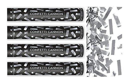 Feste Feiern Konfettikanone I 4 Teile Konfetti Shooter Streifen Silber Metallic 40cm I Party-Popper Silvester Hochzeit Jubiläum Liebe